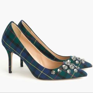J. Crew Elsie Embellished Plaid Pumps
